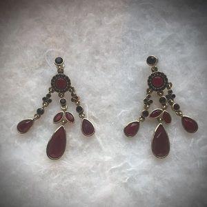 Ruby Colored Chandelier Earrings
